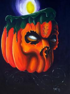 """""""The 365 Days of Halloween Jack-o-Skull"""" Acrylic on canvas, 36""""x48"""" 2014"""