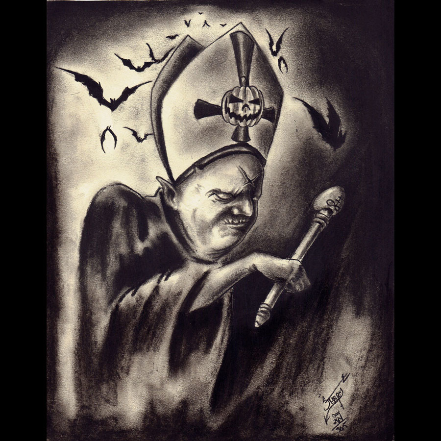 """The Black Pope of Halloween"" print"