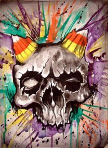 """Candy Corn Devil Skull"" Watercolors on watercolor paper, 11""x15"" 2014"