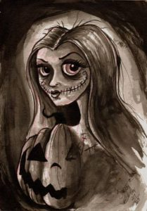 """Halloween Princess"" Watercolors on watercolor paper, 5""x7"" 2014"