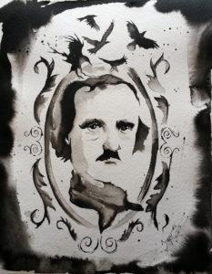 """Mr. Poe"" Watercolor watercolor paper, 9x12 2015"