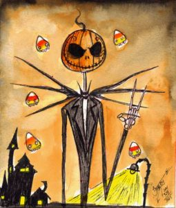 """Pumpkin Jack and the Nightmare Candy Corns"" Ink and Watercolor on watercolor paper, 5.5""x6.5"" 2014"