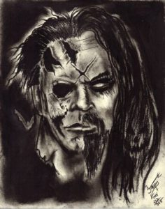 """Rob Zombie Halloween"" Charcoal on medium weight acid free paper, 8""x10"" 2014"