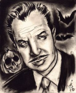 """Vincent Price Halloween"" Charcoal on medium weight acid free paper, 8""x10"" 2014"