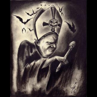 """The Black Pope of Halloween"" print"