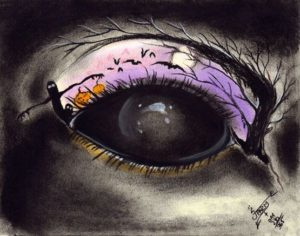 """Demonic Halloween eye"" Charcoal and pastels on medium weight acid free paper, 7""x5.5"" 2014"