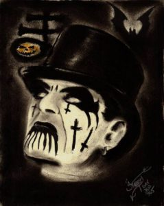 """Ghostly King Diamond Halloween"" Charcoal on medium weight acid free paper, 8""x10"" 2014"