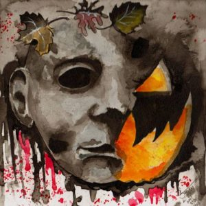 """Michael's Halloween"" Watercolors on watercolor paper, 6""x6"" 2014"