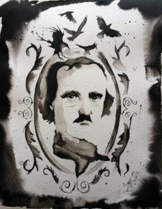"""Mr. Poe"" Watercolor watercolor paper, 9x12 2015"