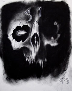 """October 31 undead emerging from the abyss"" Charcoal on heavy weight acid free paper, 8""x10"" 2014"