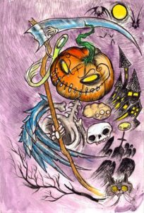 """Samhain Reaper in Lowbrow Storm-o-vision"" Ink and Watercolor on watercolor paper, 7.5""x11"" 2014"