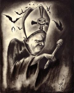 """The Black Pope of Halloween"" Charcoal on medium weight acid free paper, 8""x10"" 2014"