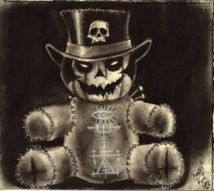 """Voodoo Halloween"" Black and white Charcoal on medium weight acid free paper, 7""x8"" 2014"