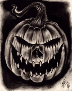 """Wicked Jack-o-lantern"" -Inspired by the artwork of Shane O'Neill Charcoal on heavy weight acid free paper, 8"" x 10"" 2014"